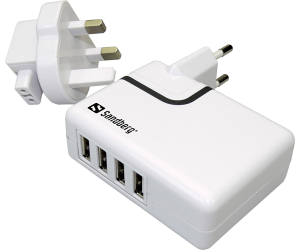 4-in-1 USB AC Charger 2A EU/UK